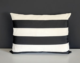 Outdoor Cabana Black Beige Stripe Rectangle Pillow Cover