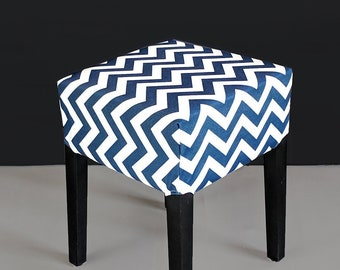 Navy Chevron IKEA Stool Seat Cover, Zig Zag Pattern
