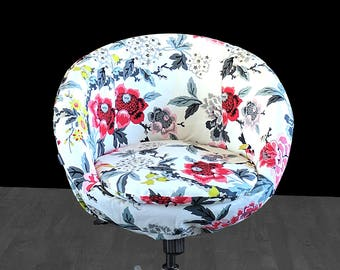 IKEA SKRUVSTA White Floral Chair Slip Cover - Candid Moment Ebony