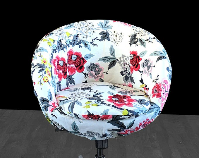 Colorful White Floral Custom IKEA SKRUVSTA Chair Slip Cover - Candid Moment Ebony