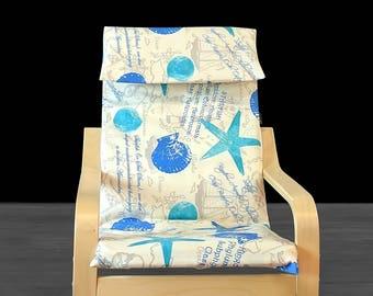 Nautical Seashells, IKEA KIDS POÄNG Cushion Slipcover