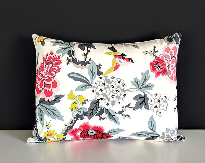 Red Floral Rectangle Pillow Cover
