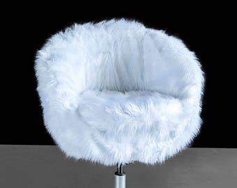 IKEA White Fur SKRUVSTA Chair Slip Cover