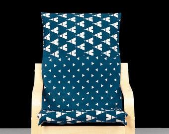 Navy Blue Triangle Tee Pee Print POÄNG Cushion Slip Cover