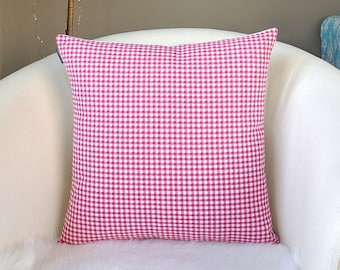 Red Gingham Check Pillow Cover