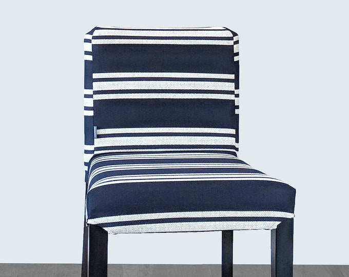SUNBRELLA Navy White Stripes, IKEA HENRIKSDAL Bar Stool Chair Covers, Hampton Indigo Blue
