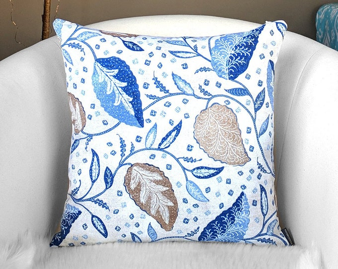 Blue Brown Floral Print Pillow Cover