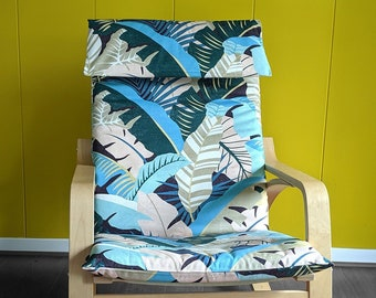 Jungle Pink Teal IKEA POÄNG Cushion Slipcover, Palma Linda Lagoon