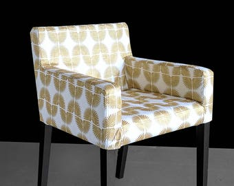 Hollywood Regency White Gold Custom Furniture Prints, IKEA NILS Chair Slip Cover