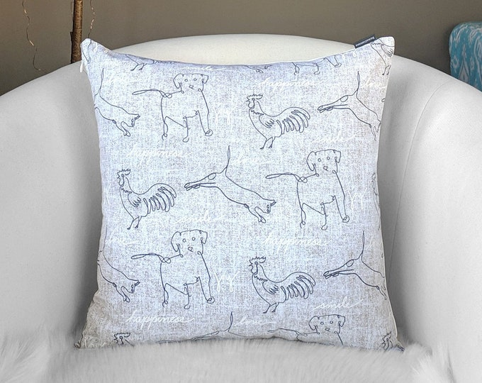 Gray Animal Print Pillow Cover, Puppy Dogs, Chickens