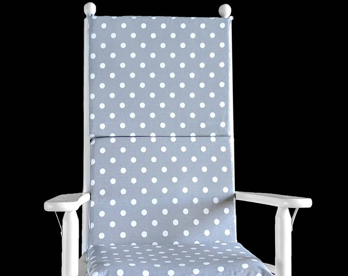 Reversible Gray Polka Dot Rocking Chair Cushion Cover