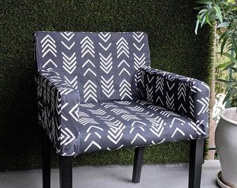 IKEA NILS Chair Slip Cover, Dark Gray Tribal Arrow Print Furniture Cover