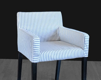 IKEA NILS Chair Slip Cover, Indigo Blue Ticking Stripe