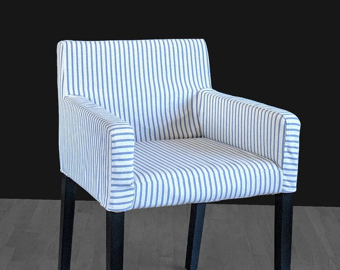 Indigo Blue Ticking Stripe IKEA NILS Customized Chair Slip Cover