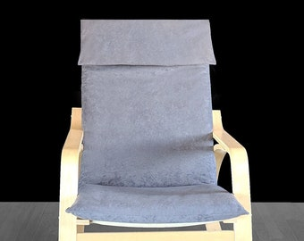 Gray Faux Suede Ikea Poang Chair Cover, Grey Ikea Seat Cover, Charcoal