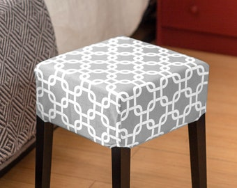 Gray Trellis Print Cover for IKEA Nils Stool
