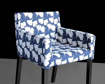 IKEA NILS Chair Slip Cover, Navy Unique Flower Seat Print, Gingko Floral