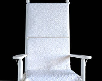White Embossed Patterned Rocking Chair Cushion