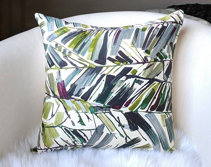 Jewel Tones Tropical Pillow Cover, Jungle Leaves