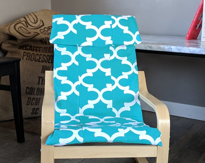Patchwork Turquoise Blue Patterned Childs POÄNG Cushion Slipcover