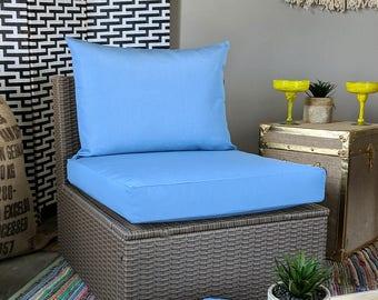 IKEA OUTDOOR Slip Cover, Plain Blue Ikea Cushion Covers, Custom Ikea Decor, Bespoke Arholma Covers, Sunbrella Air Blue