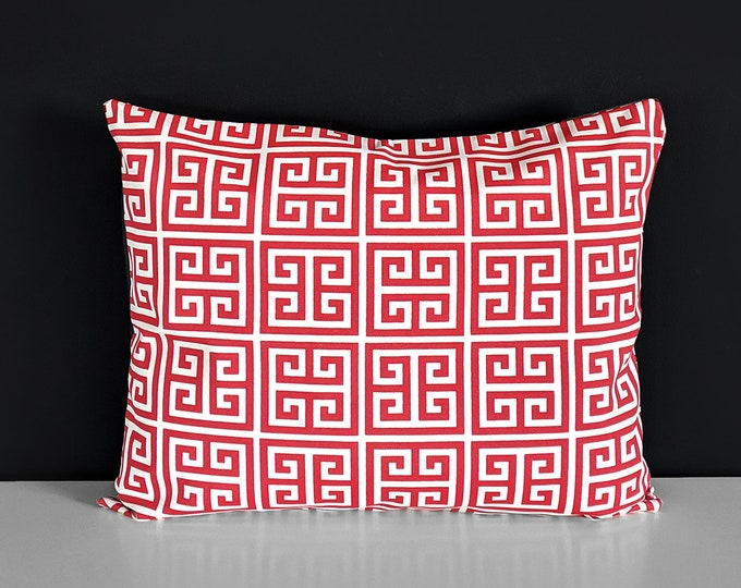 Outdoor Red Greek Style Geometric Print Pillow Cover