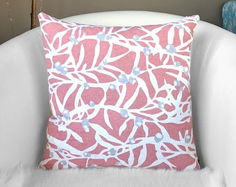 Dusty Pink Branches Leaves Pillow Cover