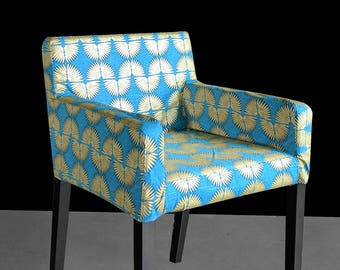 Hollywood Regency Turquoise Blue Gold Custom Furniture Prints, IKEA NILS Chair Slip Cover