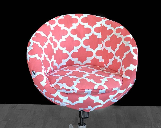 Coral Pink Indian Print IKEA SKRUVSTA Chair Slip Cover