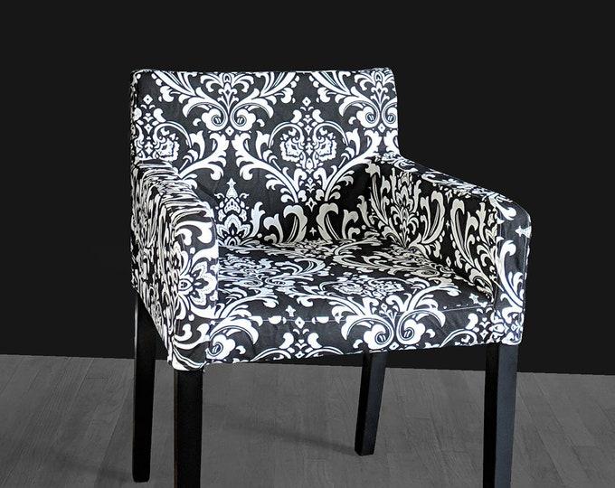 Black Damask Custom IKEA NILS Chair Slip Cover