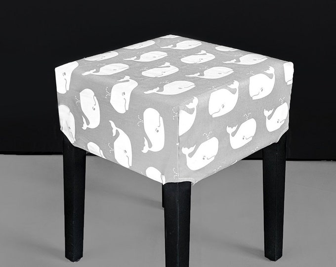 Kids Whale Gray Stool Cover for IKEA Nils