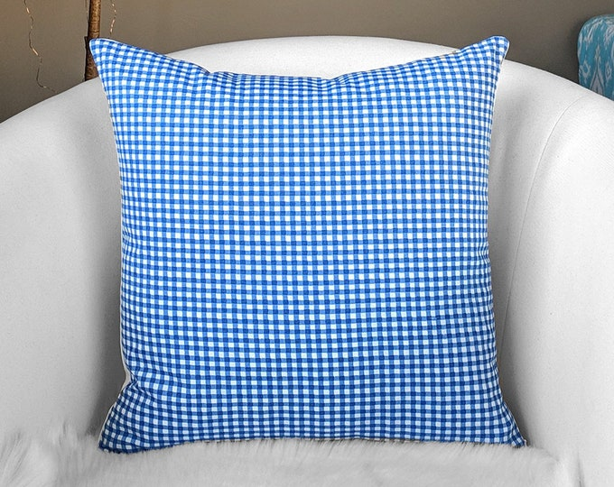 Blue Gingham Check Pillow Cover