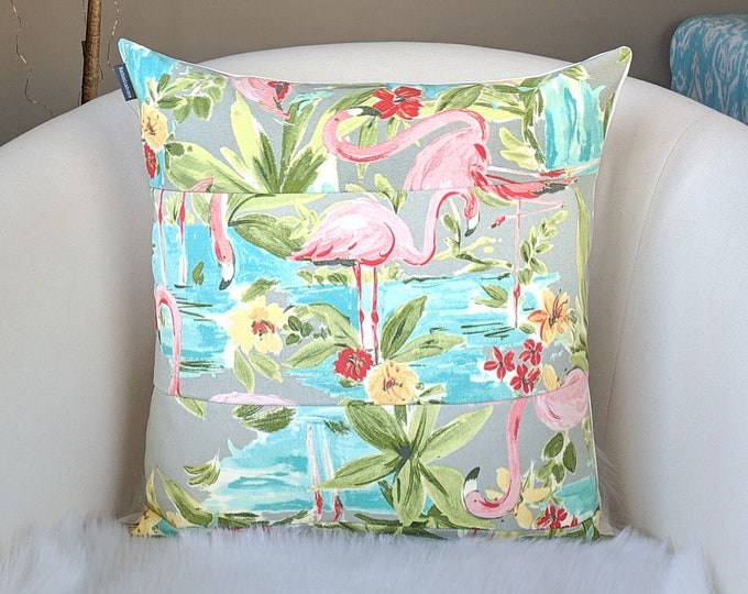 Flamingo Print Patchwork Throw Pillow Cover