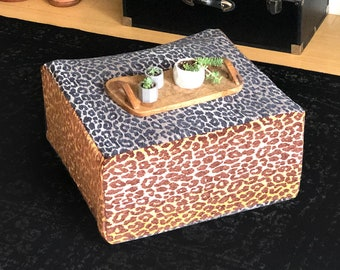 Animal Print Floor Pouf Cover, Ottoman Seat Cover, Leopard