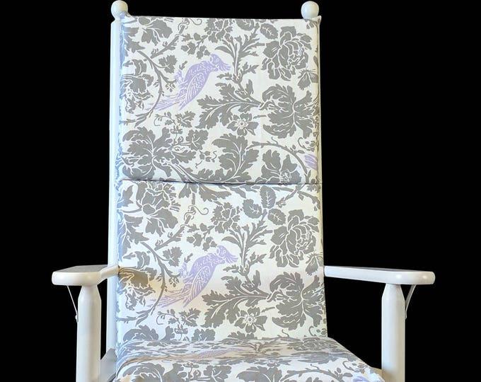 Grey Pattern, Lilac Floral Bird Rocking Chair Cushion