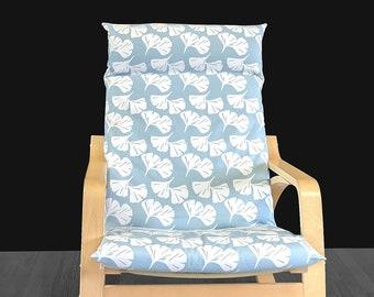 Light Blue Leaf IKEA POÄNG Cushion Slip Cover