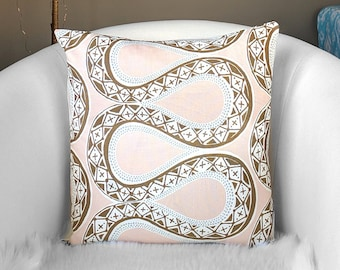Blush Pink Brown Tribal Print Pillow Cover, 18""