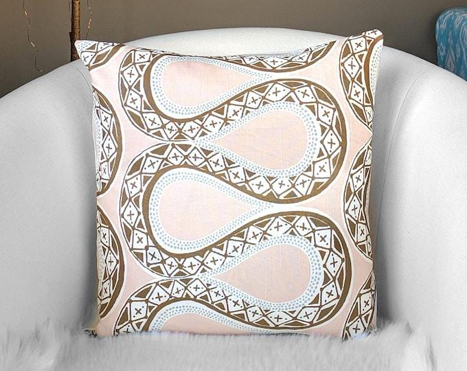 "Blush Pink Brown Tribal Print Pillow Cover, 18"""