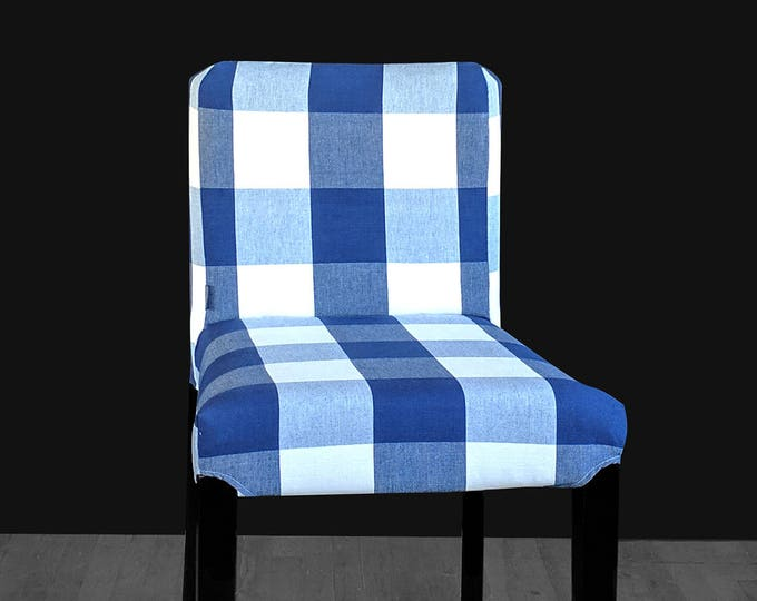 Navy Blue Large Buffalo Check Print HENRIKSDAL Bar Stool Chair Cover