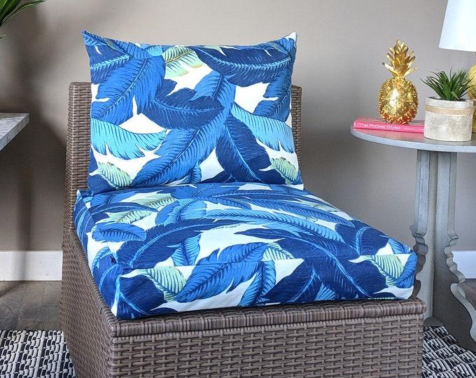 Blue IKEA OUTDOOR Palm Leaves Slip Cover, Ikea Cushion Covers, Custom Ikea Decor, Bespoke Arholma Covers, Tommy Bahama Swaying Palms