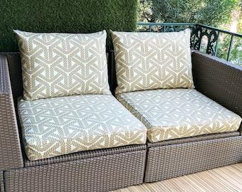 IKEA OUTDOOR Slip Cover, Beige Rope Print, Ikea Decor, Bespoke Arholma Covers, Topsail Sand,Durable Geometric Print