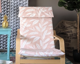 Blush Pink Tropical Leaf Ikea Poang Summerhouse Chair Cover
