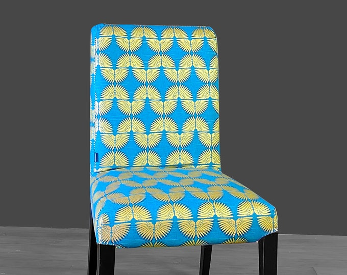 Peacock Blue, Metallic Gold Tribal Henriksdal Seat Cover