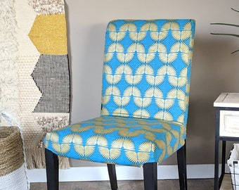 SALE Peacock Blue, Metallic Gold Tribal Henriksdal Seat Cover