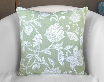 Sage Green Floral Throw Pillow Cover