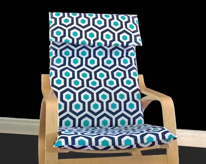 Blue Hexagon Ikea Poang Chair Cover, Custom Ikea Covers
