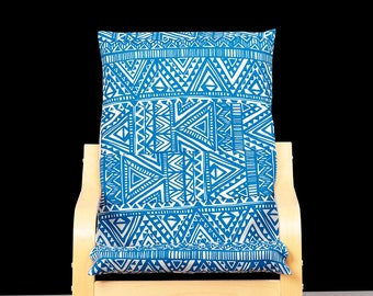 Bright Blue KIDS Tribal POÄNG Cushion Slipcover
