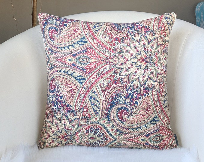 Paisley Red, Blue Floral Pillow Cover
