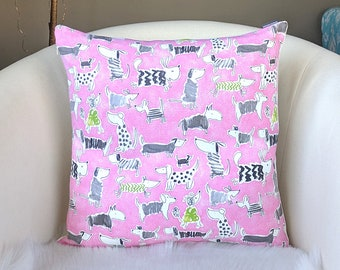 Pink Sweater Puppy Dogs Pillow Cover