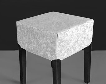 Gray Faux Suede Stool Cover, IKEA Nils